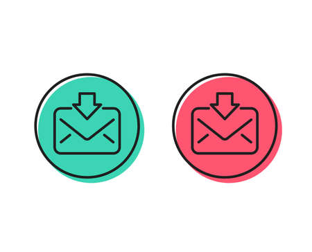 Mail download line icon. Incoming Messages correspondence sign. E-mail symbol. Positive and negative circle buttons concept. Good or bad symbols. Incoming Mail Vector