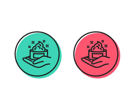 Skin care cream line icon. Gel or lotion sign. Hand symbol. Positive and negative circle buttons concept. Good or bad symbols. Skin care Vector