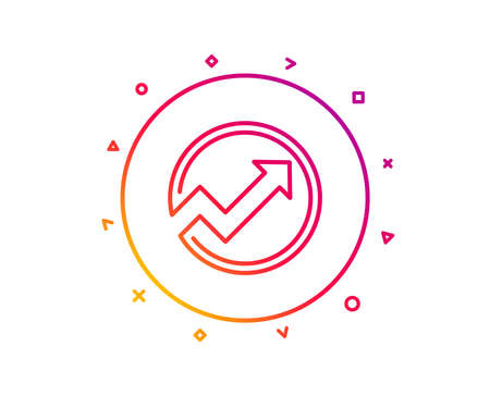 Chart line icon. Report graph or Sales growth sign in circle. Analysis and Statistics data symbol. Gradient pattern line button. Audit icon design. Geometric shapes. Vector
