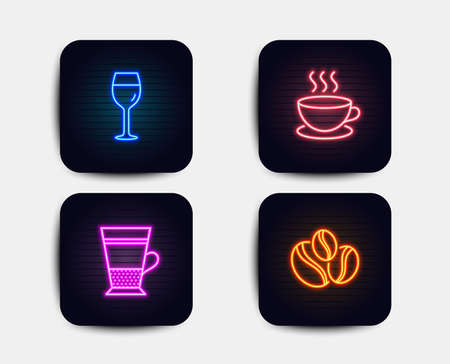 Neon set of Cappuccino, Double latte and Wine glass icons. Coffee-berry beans sign. Espresso cup, Tea cup, Bordeaux glass. Coffee beans. Neon icons. Glowing light banners. Vector