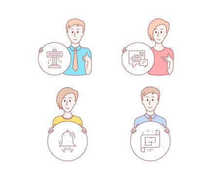 People set of Attraction, Accounting and Clock bell icons. Architectural plan sign. Free fall, Supply and demand, Alarm. Technical project. Character hold circle button. Vector