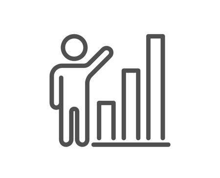 Graph line icon. Column chart sign. Growth diagram symbol. Quality design flat app element. Editable stroke Graph chart icon. Vector