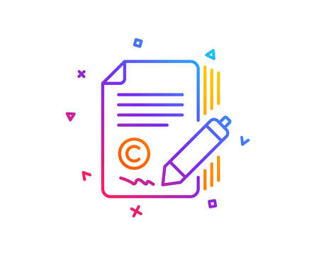 Copywriting line icon. Сopyright signature sign. Feedback symbol. Gradient line button. Copywriting icon design. Colorful geometric shapes. Vector