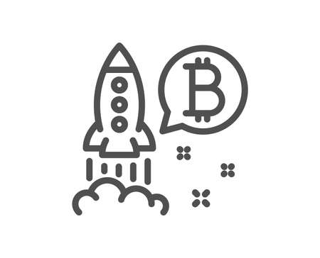 Bitcoin line icon. Cryptocurrency startup sign. Crypto rocket symbol. Quality design flat app element. Editable stroke Bitcoin project icon. Vector