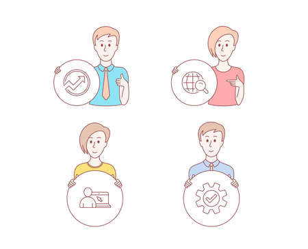 People hand drawn style. Set of Internet search, Audit and Online education icons. Service sign. Web finder, Arrow graph, Internet lectures. Cogwheel gear.  Character hold circle button. Vector