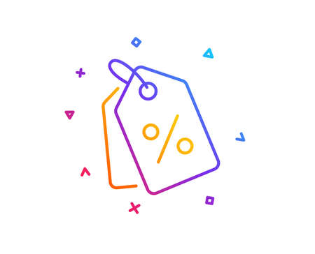 Shopping tags line icon. Special offer sign. Discount coupons symbol. Gradient line button. Discount tags icon design. Colorful geometric shapes. Vector