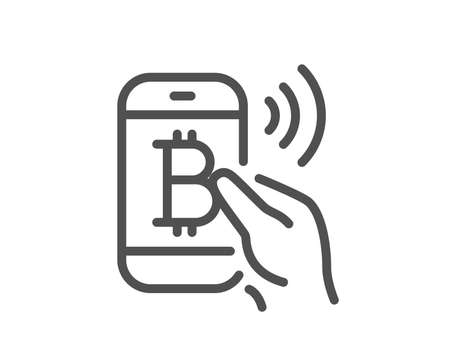 Bitcoin mobile pay line icon. Cryptocurrency sign. Crypto money symbol. Quality design flat app element. Editable stroke Bitcoin pay icon. Vector