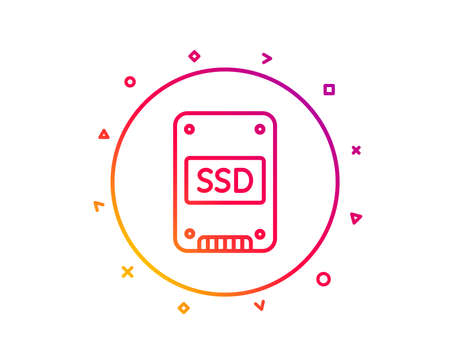SSD icon. Solid-state drive sign. Storage disk symbol. Gradient pattern line button. SSD icon design. Geometric shapes. Vector
