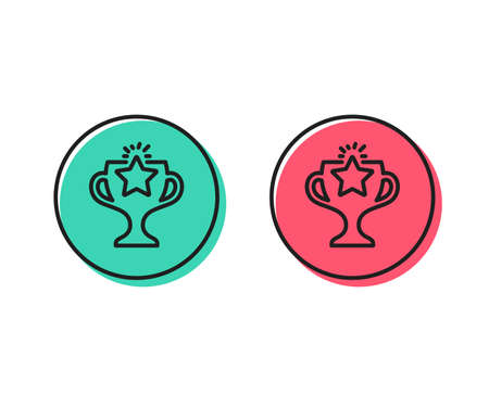 Winner cup line icon. Sport Trophy with Star symbol. Victory achievement or Championship prize sign. Positive and negative circle buttons concept. Good or bad symbols. Victory Vector