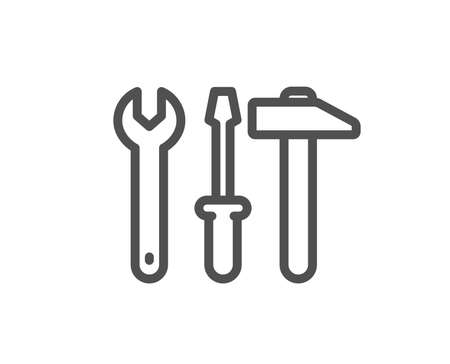 Spanner, hammer and screwdriver line icon. Repair service sign. Fix instruments symbol. Quality design flat app element. Editable stroke Spanner tool icon. Vector