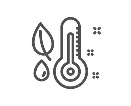 Thermometer line icon. Humidity and leaf sign. Moisture symbol. Quality design flat app element. Editable stroke Thermometer icon. Vector