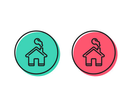 Home line icon. House sign. Building or Homepage symbol. Positive and negative circle buttons concept. Good or bad symbols. Home Vector