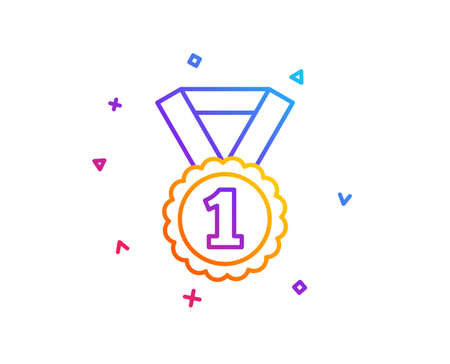 Reward Medal line icon. Winner achievement or Award symbol. Glory or Honor sign. Gradient line button. Best rank icon design. Colorful geometric shapes. Vector