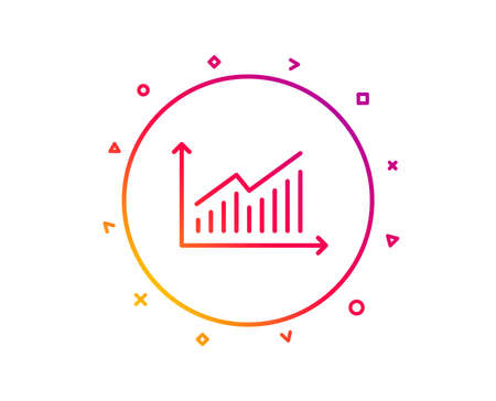 Chart line icon. Report graph or Sales growth sign. Analysis and Statistics data symbol. Gradient pattern line button. Graph icon design. Geometric shapes. Vector