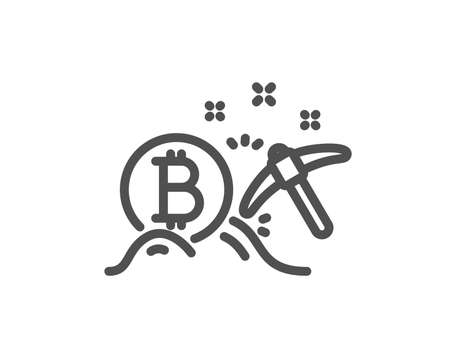 Bitcoin mining line icon. Cryptocurrency coin sign. Crypto money pickaxe symbol. Quality design flat app element. Editable stroke Bitcoin mining icon. Vector Illustration
