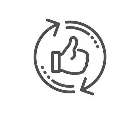 Actualiser comme l'icône de la ligne. Pouce en l'air signe. Symbole de rétroaction positive. Élément d'application plat de conception de qualité. Trait modifiable Actualiser comme icône. Vecteur Vecteurs