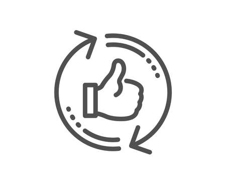 Refresh like line icon. Thumbs up sign. Positive feedback symbol. Quality design flat app element. Editable stroke Refresh like icon. Vector