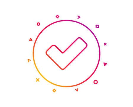 Check line icon. Approved Tick sign. Confirm, Done or Accept symbol. Gradient pattern line button. Tick icon design. Geometric shapes. Vector