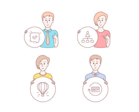 People hand drawn style. Set of Air balloon, Confirmed and Management icons. Refund commission sign. Flight travel, Accepted message, Agent. Cashback card.  Character hold circle button. Vector