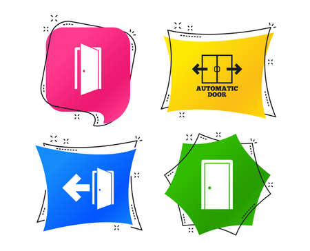 Automatic door icon. Emergency exit with arrow symbols. Fire exit signs. Geometric colorful tags. Banners with flat icons. Trendy design. Vector