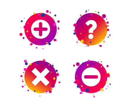 Plus and minus icons. Delete and question FAQ mark signs. Enlarge zoom symbol. Gradient circle buttons with icons. Random dots design. Vector