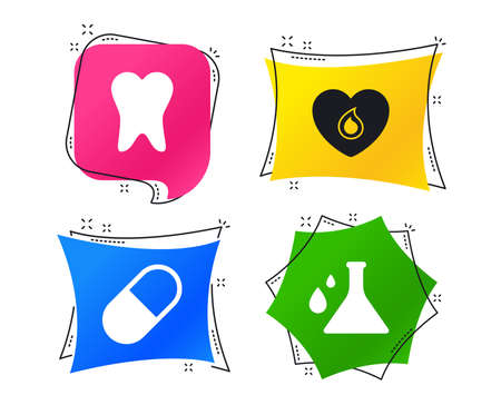 Maternity icons. Pill, tooth, chemistry and heart signs. Blood donation symbol. Lab bulb with drops. Dental care. Geometric colorful tags. Banners with flat icons. Trendy design. Vector Standard-Bild - 112071555