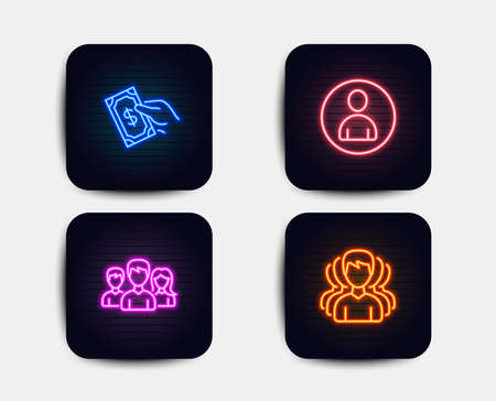 Neon set of Teamwork, Avatar and Pay money icons. Group sign. Group of users, User profile, Hold cash. Headhunting service. Neon icons. Glowing light banners. Vector Illustration
