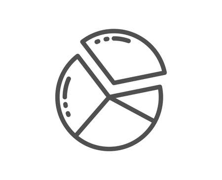 Pie chart line icon. Presentation graph sign. Market analytics symbol. Quality design flat app element. Editable stroke Pie chart icon. Vector