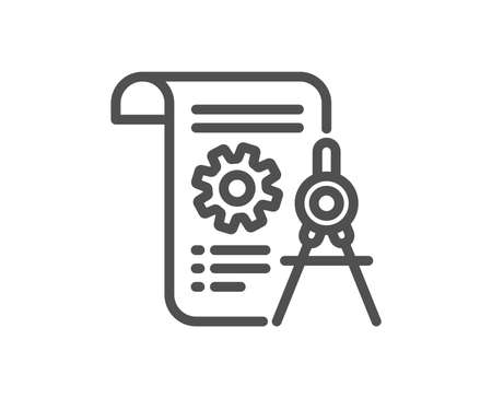 Divider document line icon. Engineering cogwheel tool sign. Cog gear symbol. Quality design flat app element. Editable stroke Divider document icon. Vector  イラスト・ベクター素材