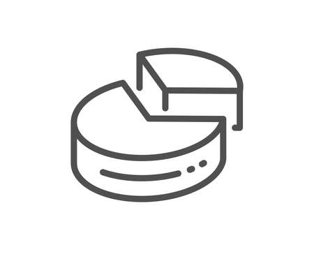 Pie chart line icon. Presentation 3d graph sign. Market analytics symbol. Quality design flat app element. Editable stroke Pie chart icon. Vector 일러스트