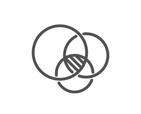 Euler diagram line icon. Eulerian circles sign. Relationships chart symbol. Quality design flat app element. Editable stroke Euler diagram icon. Vector