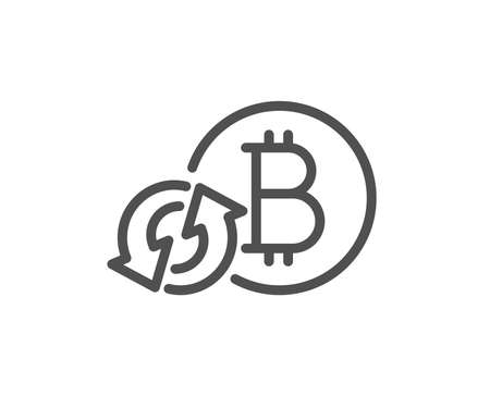 Bitcoin line icon. Refresh cryptocurrency coin sign. Crypto money symbol. Quality design flat app element. Editable stroke Refresh bitcoin icon. Vector Stok Fotoğraf - 112886590