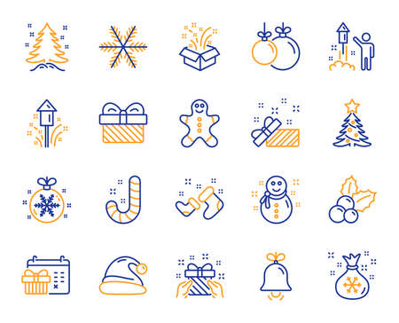 Christmas, New year line icons. Santa hat, Gingerbread man and Gift box icons. Fireworks, Snowflake and christmas holly. Snowman, santa socks and Pine tree. New year ball, holiday calendar. Vector