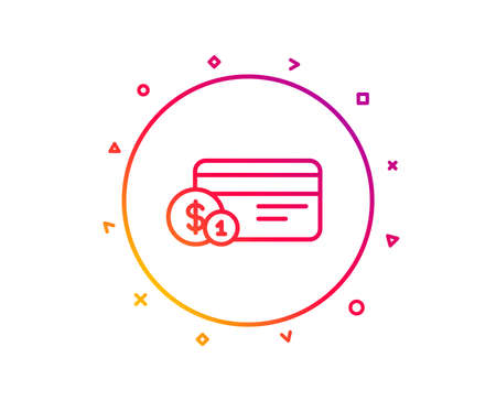 Credit card line icon. Banking Payment card with Coins sign. ATM service symbol. Gradient pattern line button. Payment method icon design. Geometric shapes. Vector