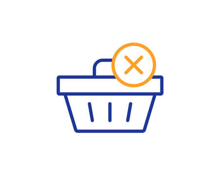 Remove Shopping cart line icon. Online buying sign. Supermarket basket symbol. Colorful outline concept. Blue and orange thin line color icon. Delete purchase Vector Illustration