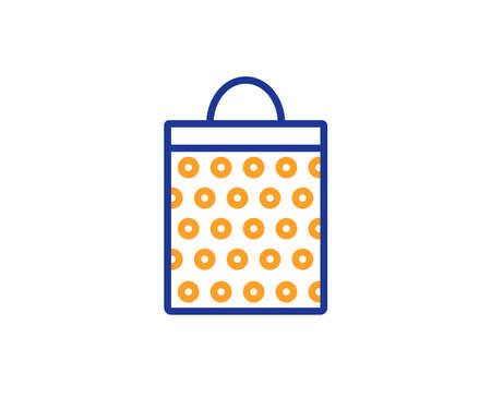 Shopping bag with circles line icon. Present or Sale sign. Birthday Shopping symbol. Package in Gift Wrap. Colorful outline concept. Blue and orange thin line color icon. Shopping bag Vector Illustration