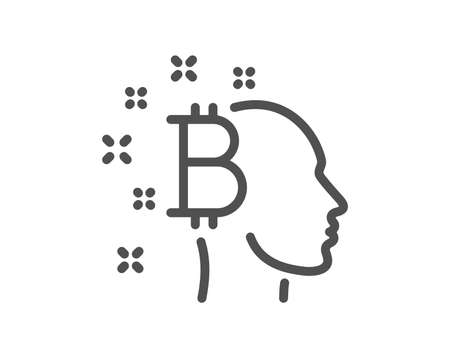 Bitcoin think line icon. Cryptocurrency head sign. Crypto money symbol. Quality design flat app element. Editable stroke Bitcoin think icon. Vector