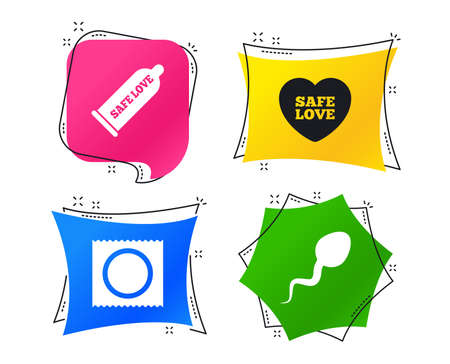 Safe sex love icons. Condom and package symbol. Sperm sign. Fertilization or insemination. Geometric colorful tags. Banners with flat icons. Trendy design. Vector Illustration