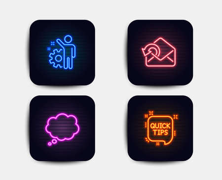 Neon set of Send mail, Comic message and Employee icons. Quick tips sign. Sent message, Speech bubble, Cogwheel. Helpful tricks. Neon icons. Glowing light banners. Vector