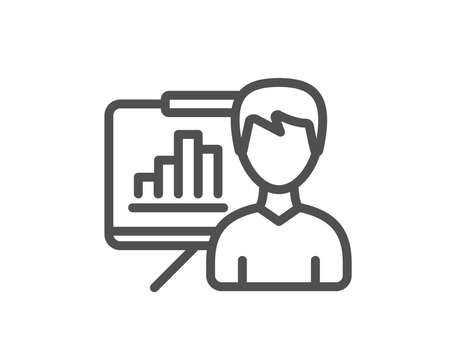 Presentation board line icon. Column graph sign. Growth diagram symbol. Quality design flat app element. Editable stroke Presentation board icon. Vector Illustration