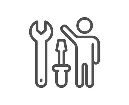 Spanner tool line icon. Repairman service sign. Fix instruments symbol. Quality design flat app element. Editable stroke Repairman icon. Vector