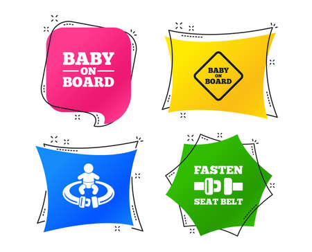 Baby on board icons. Infant caution signs. Fasten seat belt symbol. Geometric colorful tags. Banners with flat icons. Trendy design. Vector Иллюстрация