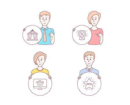 People set of Web shop, Circus tent and Discount icons. New star sign. Shopping cart, Attraction park, Sale shopping. Character hold circle button. Man with like hand. Vector