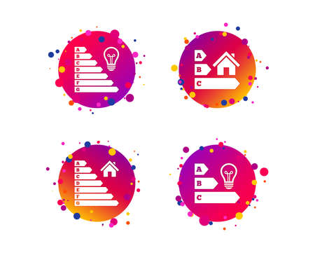 Energy efficiency icons. Lamp bulb and house building sign symbols. Gradient circle buttons with icons. Random dots design. Vector 向量圖像