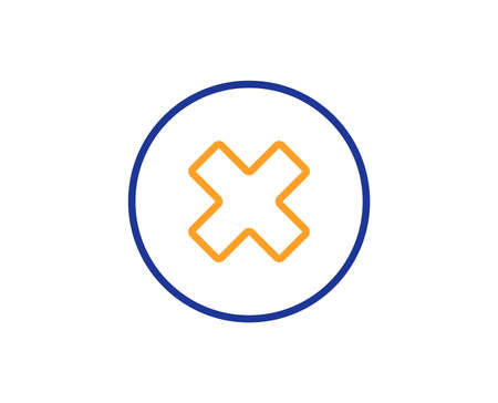 Delete line icon. Remove sign. Cancel or Close symbol. Colorful outline concept. Blue and orange thin line color icon. Close button Vector
