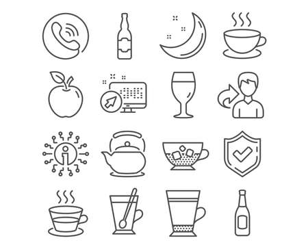 Set of Latte, Teapot and Tea mug icons. Beer glass, Coffee cup and Beer signs. Cappuccino, Cold coffee symbols. Tea kettle, Cup with teaspoon, Brewery beverage. Pub alcohol, Ice cubes. Vector 版權商用圖片 - 112886660