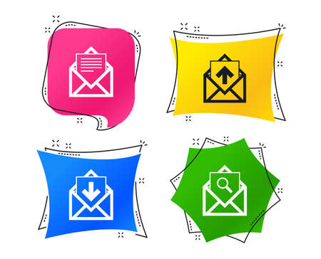 Mail envelope icons. Find message document symbol. Post office letter signs. Inbox and outbox message icons. Geometric colorful tags. Banners with flat icons. Trendy design. Vector