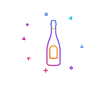 Champagne bottle line icon. Anniversary alcohol sign. Celebration event drink. Gradient line button. Champagne icon design. Colorful geometric shapes. Vector