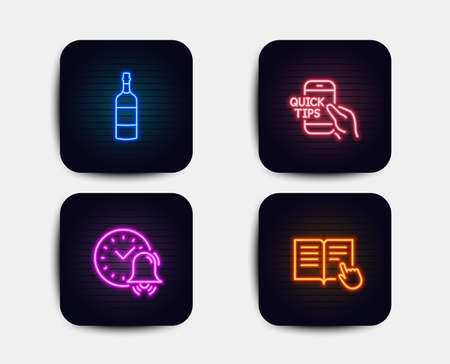 Neon set of Alarm bell, Brandy bottle and Education icons. Read instruction sign. Time, Whiskey, Quick tips. Opened book. Neon icons. Glowing light banners. Vector
