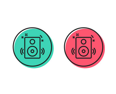 Speakers line icon. Music sound sign. Musical device symbol. Positive and negative circle buttons concept. Good or bad symbols. Speakers Vector